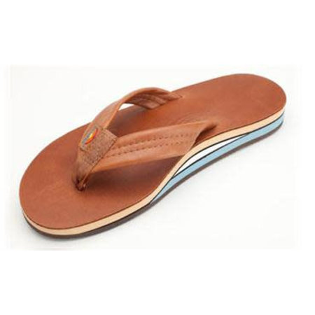 Rainbow Sandals Rainbow Heren Double Layer Classic Leather Tan Blue Sandals
