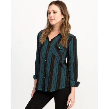 RVCA RVCA Dames Arch Blue Striped Button-up Flannel Top