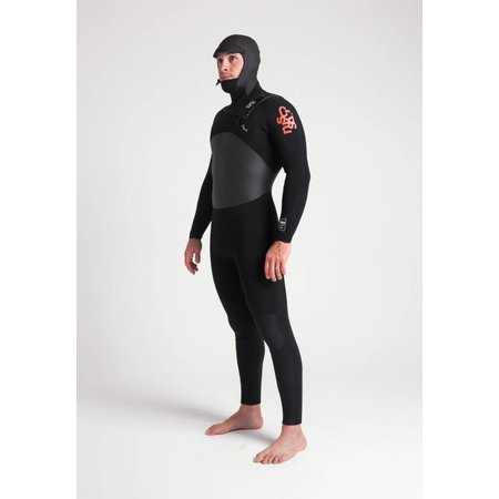C-Skins C-Skins Wired 5/4 Heren Winter Wetsuit Hooded Black/Red