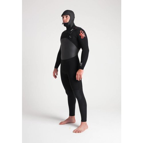 C-Skins C-Skins Wired 5/4 Hooded Heren Black/Red Winter Wetsuit
