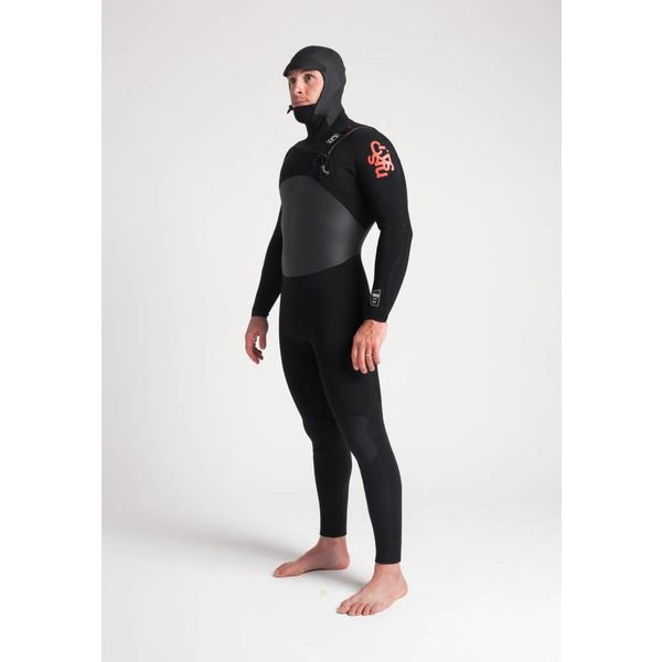 C-Skins Wired 5/4 Heren Winter Wetsuit Hooded Black/Red