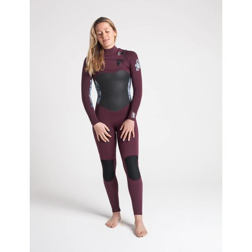 C-Skins C-Skins Solace 5/4/3 Dames Winter Wetsuit Wine/Mono Shells/Ice Blue