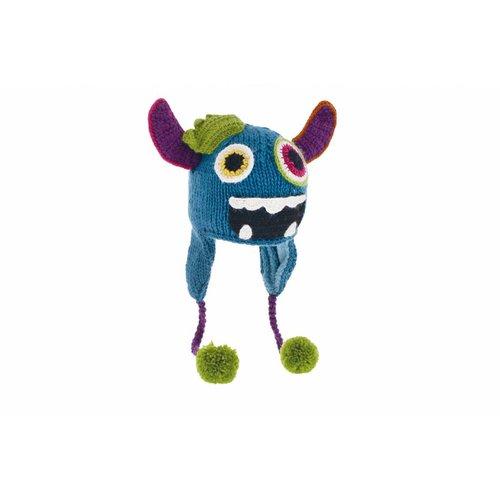 Herman Headwear Herman Kids Justin Monster Blauw Muts
