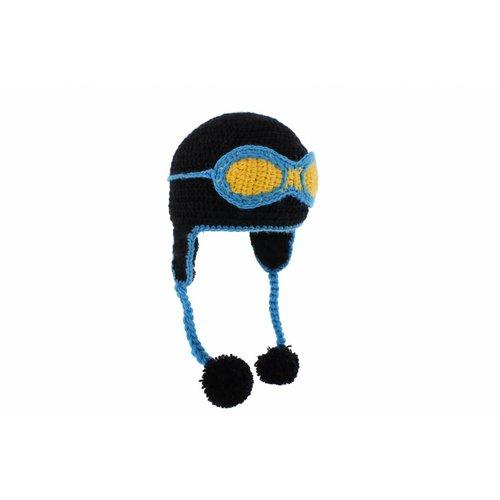 Herman Headwear Herman Kids Justin Vliegeniers Helm Zwart Muts