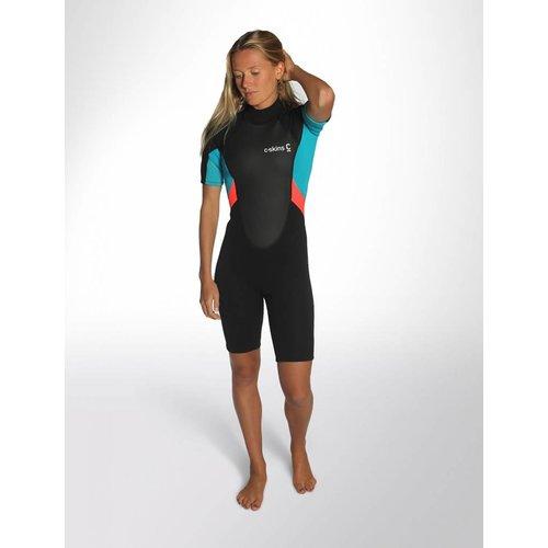 C-Skins C-Skins Element 3/2 Dames Black/Coral/Aqua Shorty Wetsuit