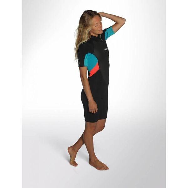 C-Skins Element 3/2 Dames Wetsuit Shorty Black/Coral/Aqua