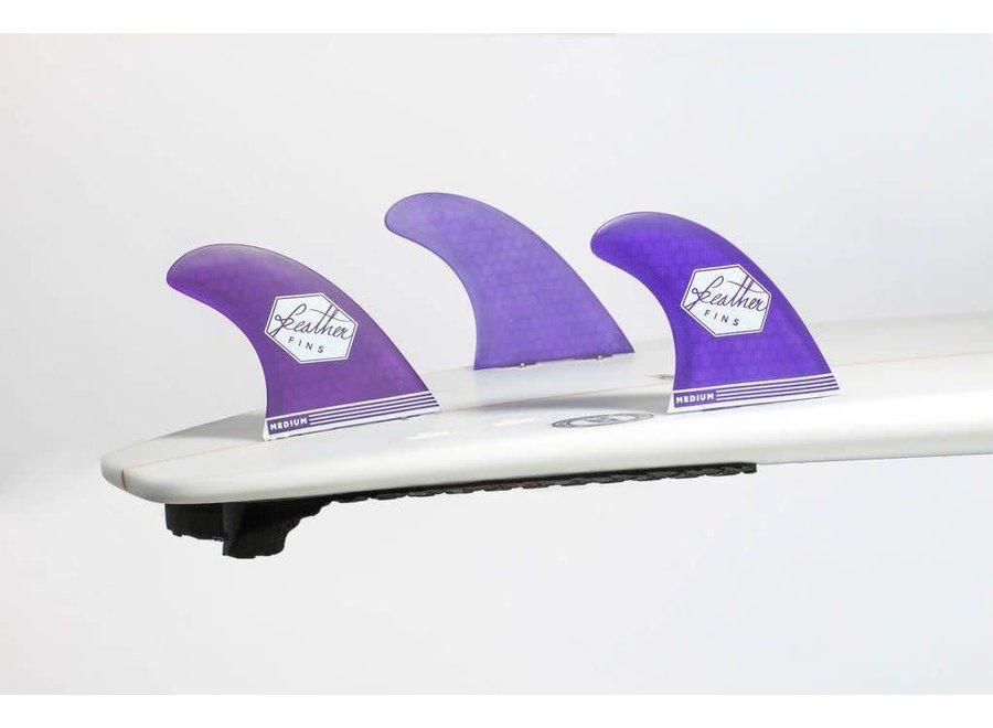 Feather Fins Single Tab Ultralight Thruster Fins Purple