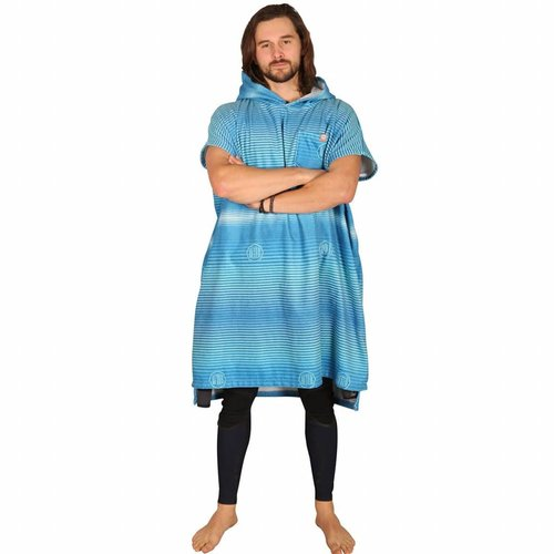 After Essentials After Surf Poncho Stripes Pacific Blue