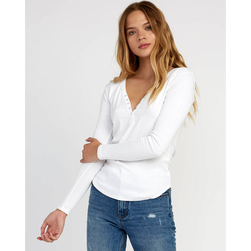 RVCA RVCA Dames Zinnia Knit Long Sleeve Top White