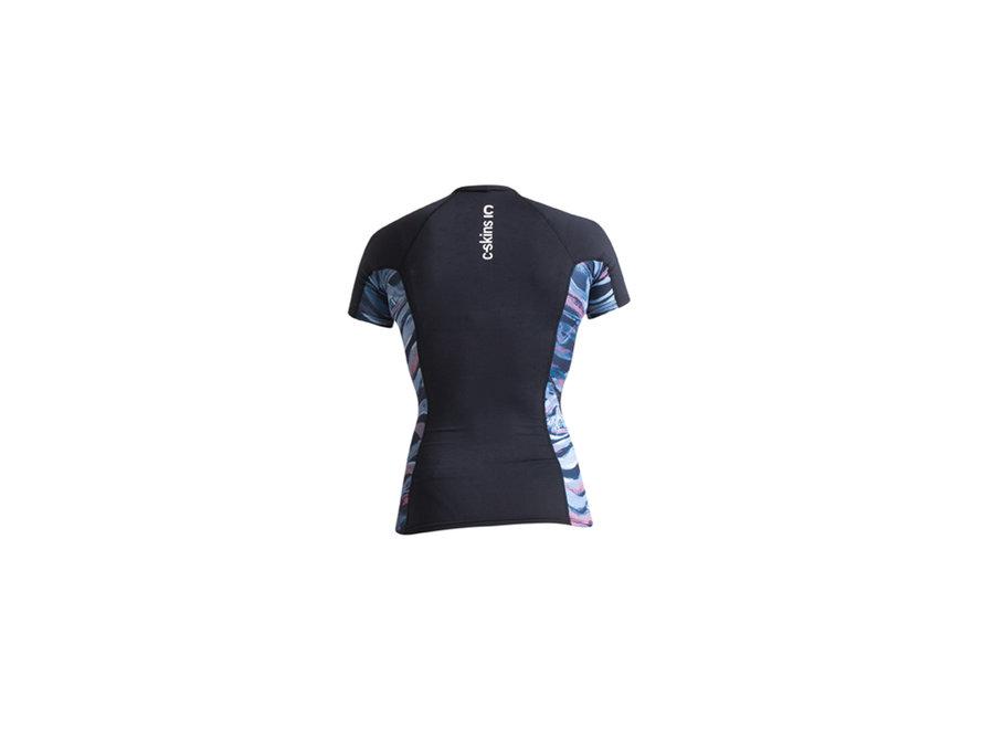 C-Skins Dames Lycra Short Sleeve Anthracite/Coral/BlueStone