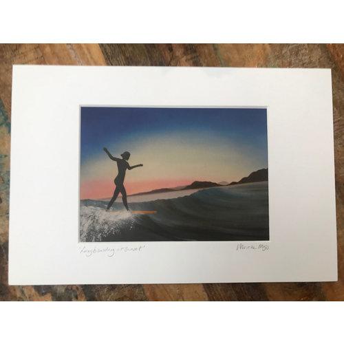 SurfArt SurfArt Print Longboarding At Sunset