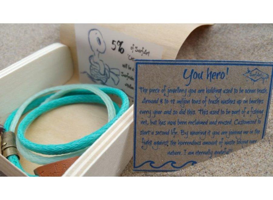 SurfArt Ocean Trash Bracelet Green Double