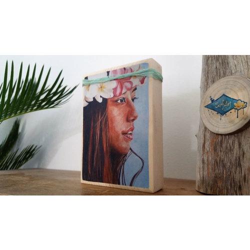 SurfArt SurfArt Print On Wood Hawaiian Girl