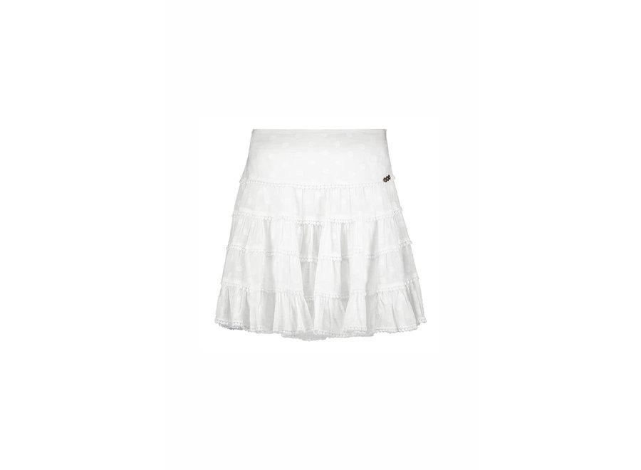 Isla Ibiza Dames Ruffle Skirt Dots White