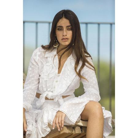 Isla Ibiza Isla Ibiza Dames Ruffle Skirt Dots White
