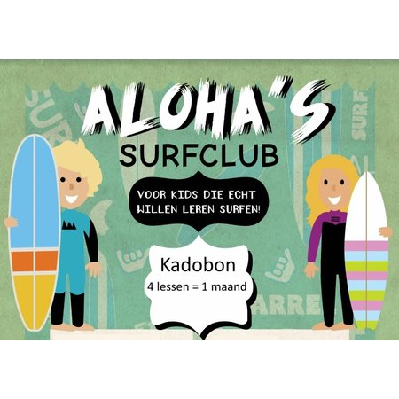 Aloha Surf Huismerk Aloha Kadobon Aloha's Surfclub 4x 1 Persoon