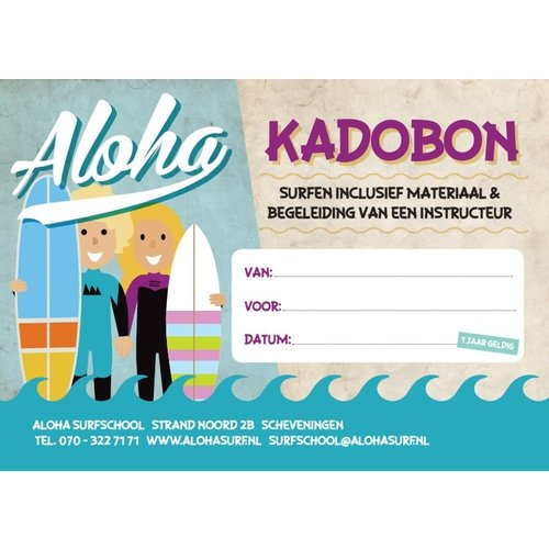 Aloha Surf Huismerk Gift Voucher Kids Introduction surflesson 1 person