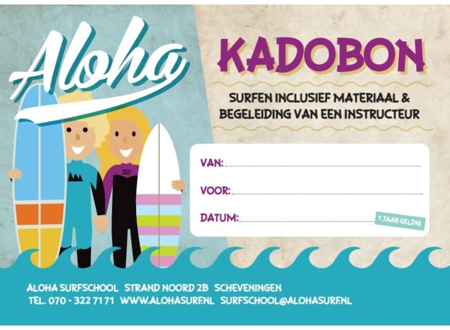 Aloha Kadobon Kids Introductie Surfles 1 Persoon