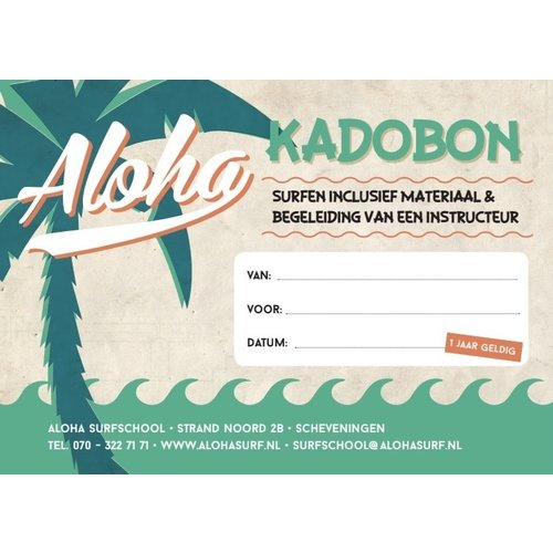 Aloha Surf Huismerk Aloha Gift Voucher Introduction Surf Lesson 1 Person