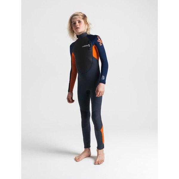 C-Skins Element 3/2 Kinder Zomer Wetsuit Graphite/Orange/Navy