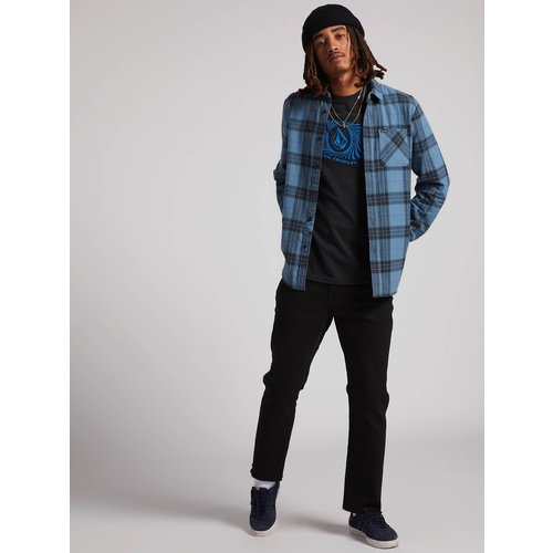 Volcom Volcom Heren Caden Plaid Shirt Blue Rinse