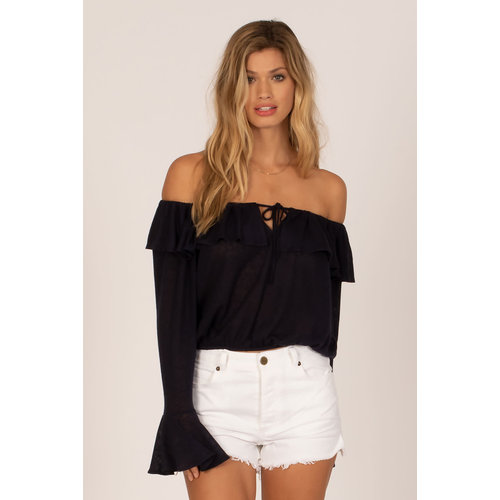 Amuse Amuse Bella Babe Schouder Knit Top Ink