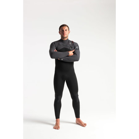 C-Skins C-Skins ReWired 5/4 Heren Winter Wetsuit Black/Charcoal/DiamondRed