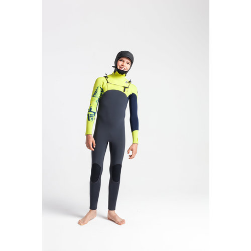 C-Skins C-Skins Session 5/4 Youth Winter Wetsuit Hooded Anthracite/FlashGreen/C-ollageFlash