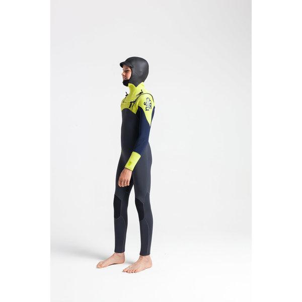 C-Skins Session 5/4 Kinder Wetsuit Hooded Anthracite/FlashGreen/C-ollageFlash