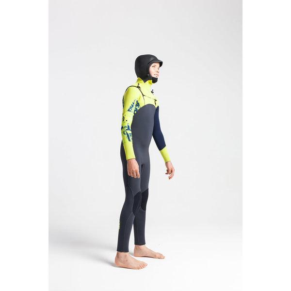 C-Skins Session 5/4 Kinder Winter Wetsuit Hooded Anthracite/FlashGreen/C-ollageFlash