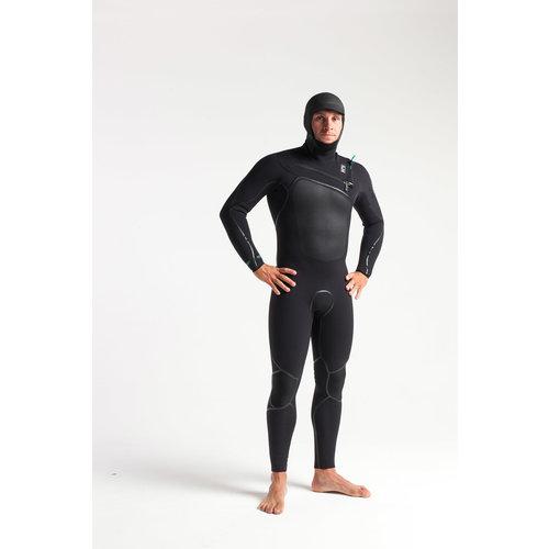 C-Skins C-Skins Wired 5/4 Heren Winter Wetsuit Hooded BlackDiamond/C-Green