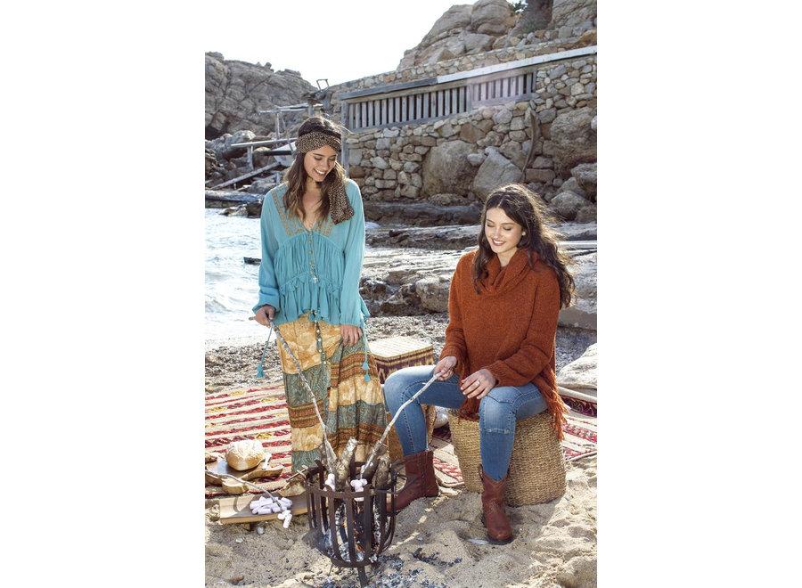 Isla Ibiza Dames Jumper Knit Dark Terra