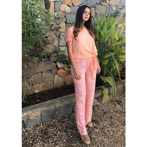 Isla Ibiza Isla Ibiza Dames Trouser Flower Light Pink