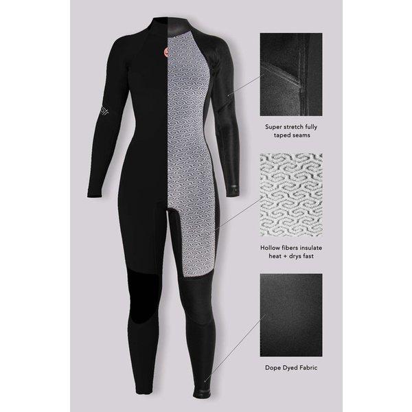 Sisstrevolution 7 Seas 5/4 Dames Winter Wetsuit Hooded Black Heather