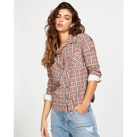 RVCA RVCA Dames Jordan Cord Plaid Shirt Nutmeg