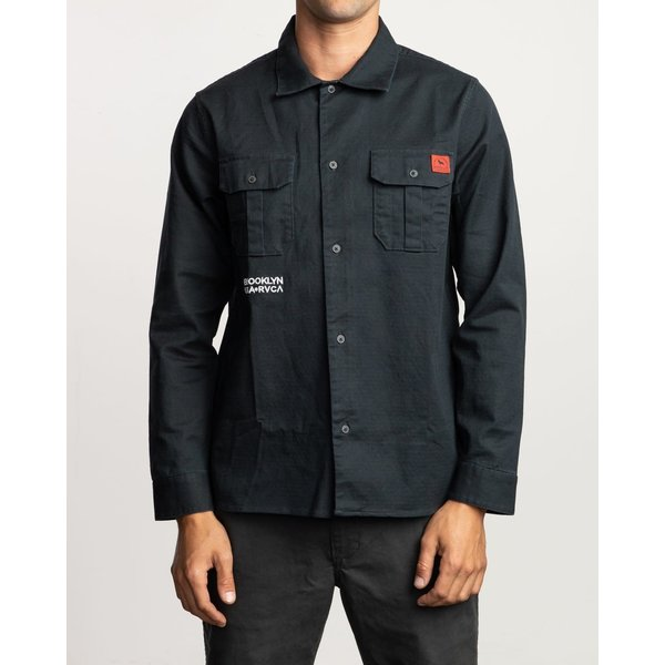 RVCA Men's Smith Street LS Shirt Black