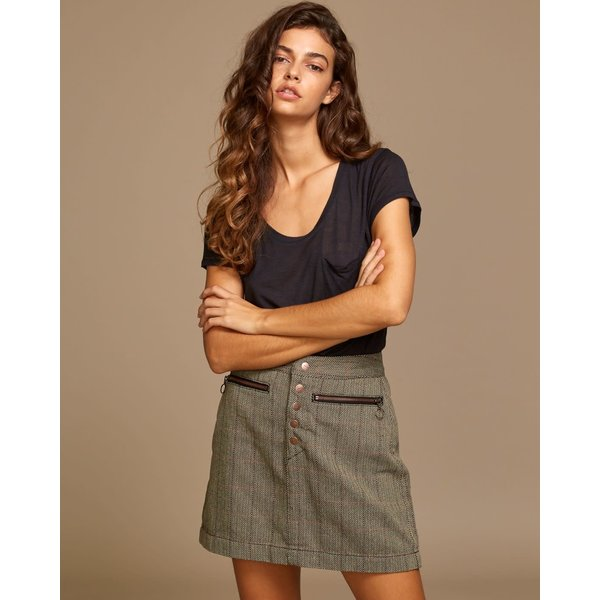 RVCA Dames Natwest High Rise Skirt Oatmeal