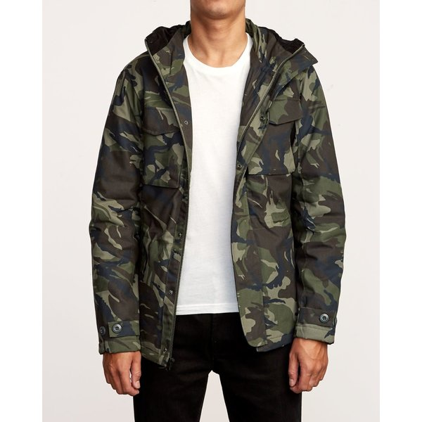RVCA Heren Field Coat Woodland Camo