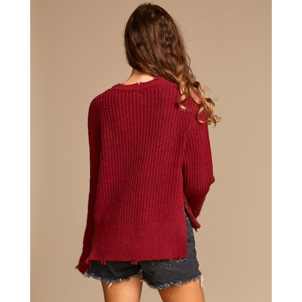 RVCA Dames Drop Out Sweater Brick Red