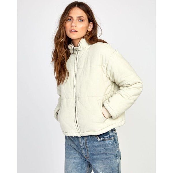 RVCA Dames Eezeh Cordury Puffer Cropped Jacket Oatmeal