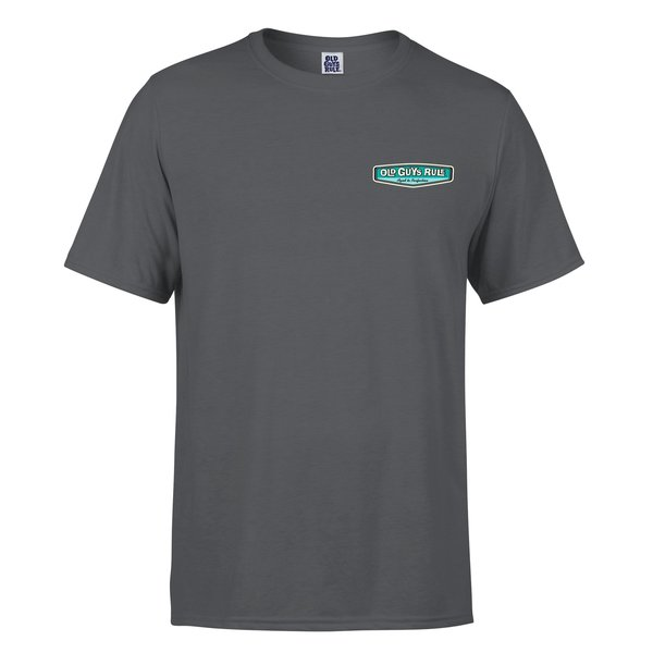 Old Guys Rule Rear View Tee Charcoal