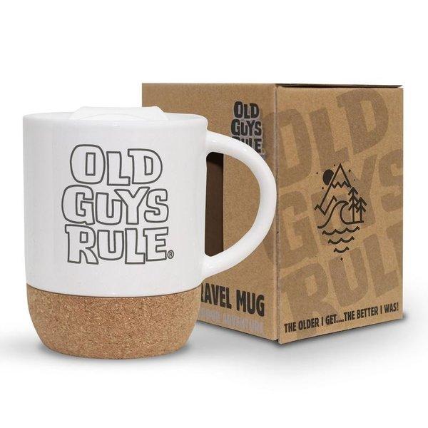 Old Guys Rule Stacked Logo Travel Mug White