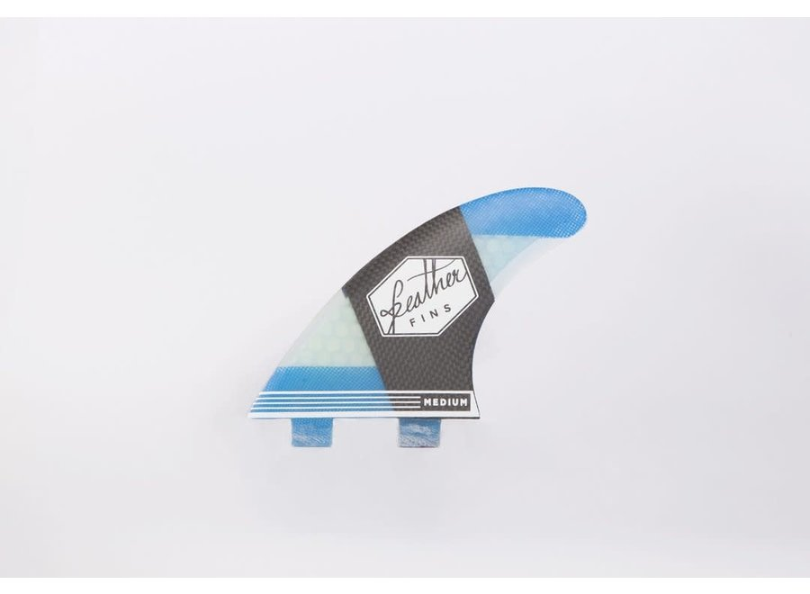 Feather Fins Dual Tab Carbonflex Thruster Fins Blue