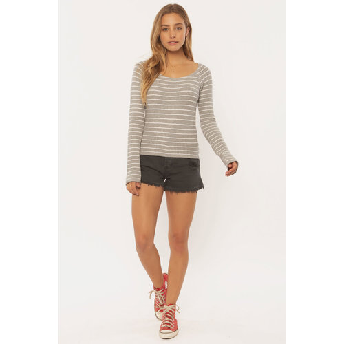 Sisstrevolution Sisstrevolution Women's Hazy Days LS Knit Top Grey Heather