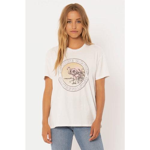 Sisstrevolution Sisstrevolution Dames Sunshine Vacay Knit Tee Vintage White