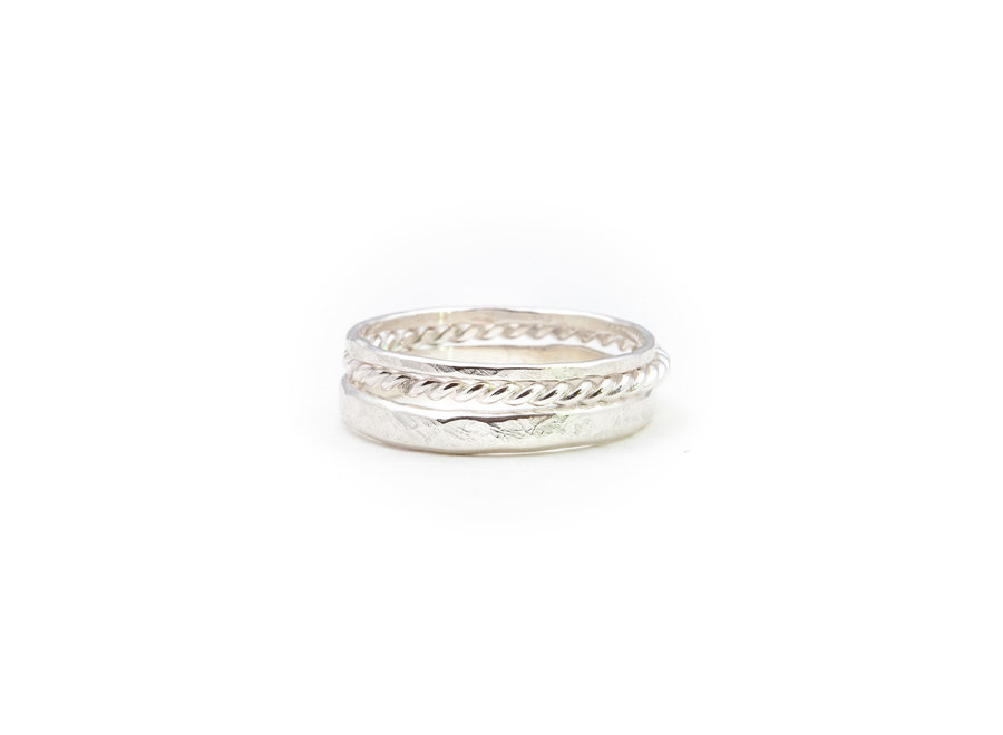 A Little Lem Olivia The Oblivious Triple Silver Ring