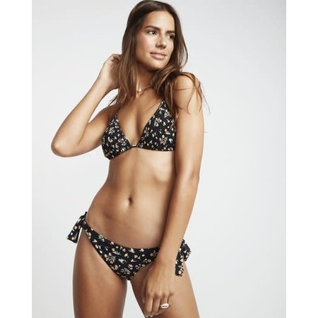 Billabong Billabong Dames Sweet Side Slide Tri Smocked Triangle Bikini Top Black Pebble