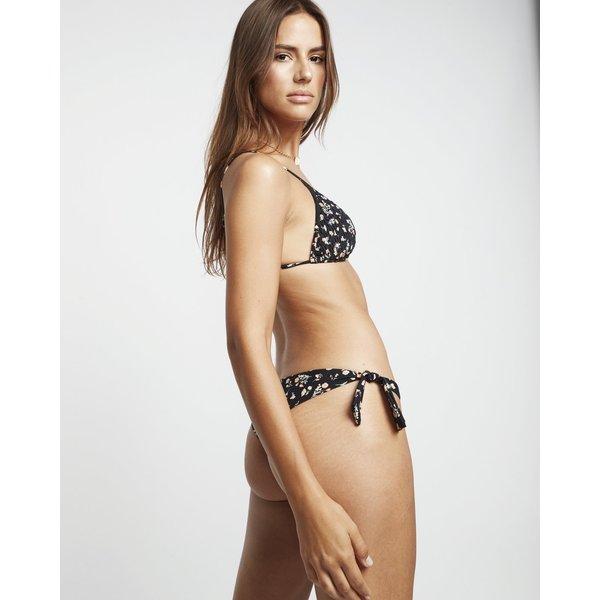 Billabong Dames Sweet Side Slide Tri Smocked Triangle Bikini Top Black Pebble