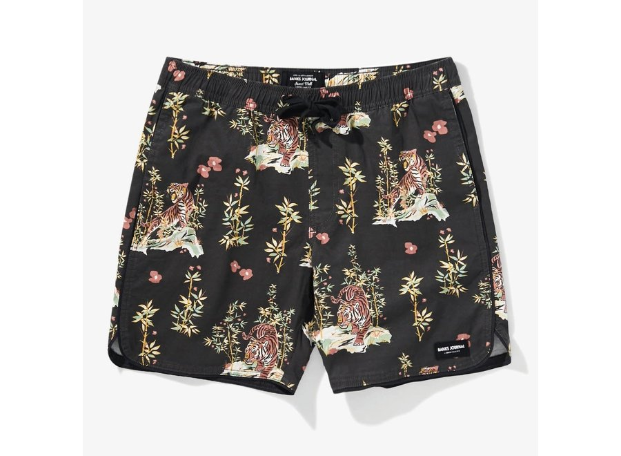 Banks Journal Heren Jared Mell Elastic Boardshorts Dirty Black
