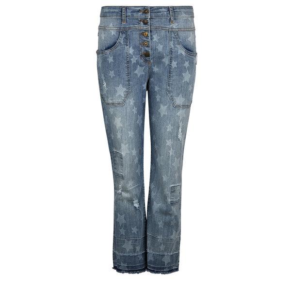 Isla Ibiza Dames Trousers Baggy Denim Blue